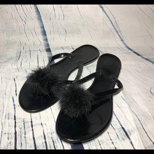 FOREVER 21 black Pom Pom jelly sandals